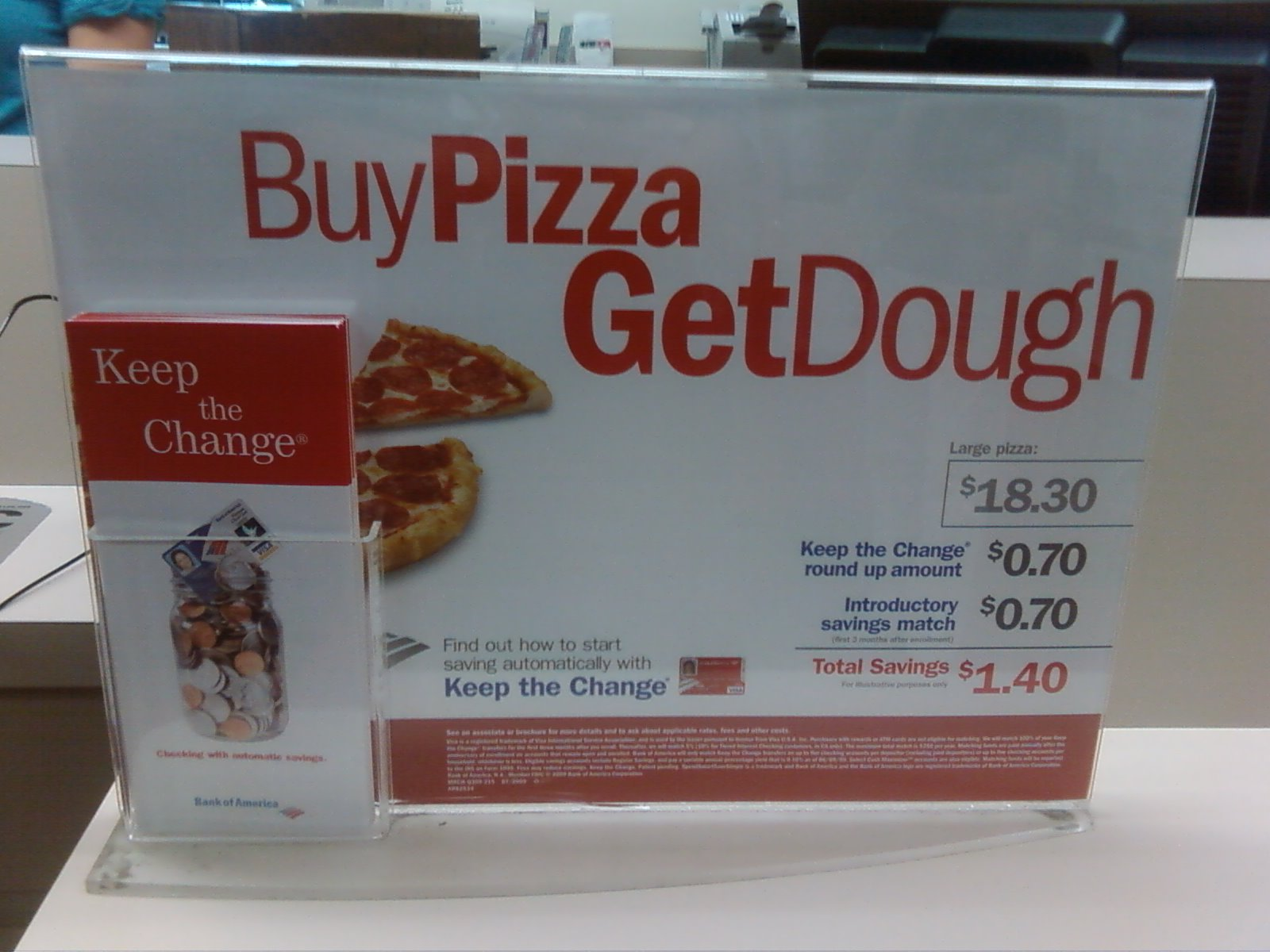 Buy Pizza, Get Dough, from Bank of America
