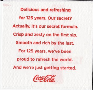 Coca-Cola cocktail napkin back from Delta flight