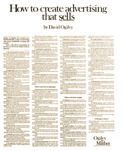 How To Create Advertising That Sells, by David Ogilvy